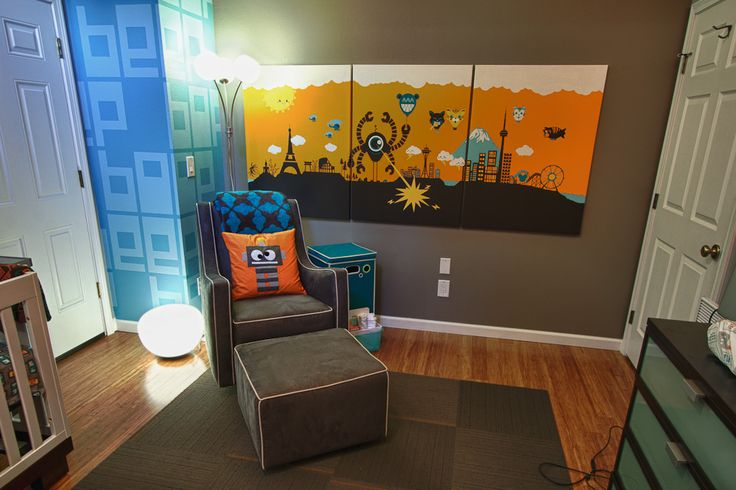 The robot theme for this nursery is modern and fun! #nursery