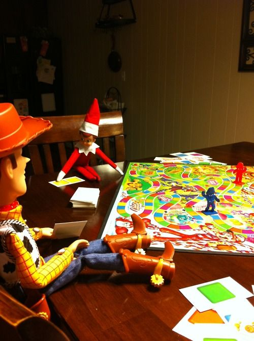 Elf on A Shelf Playing Candy Land with Woody (I can't wait to try this. The kids are ready!!)