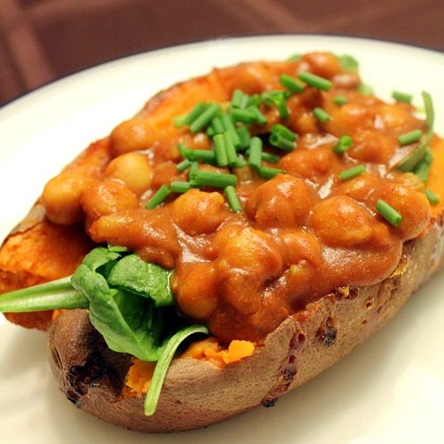 Chana Masala Stuffed Sweet Potatoes