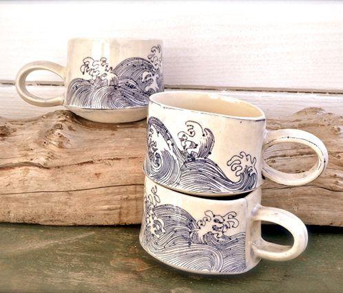 Linda Fahey's ocean-inspired ceramics #ceramics #porcelain #ocean #wave