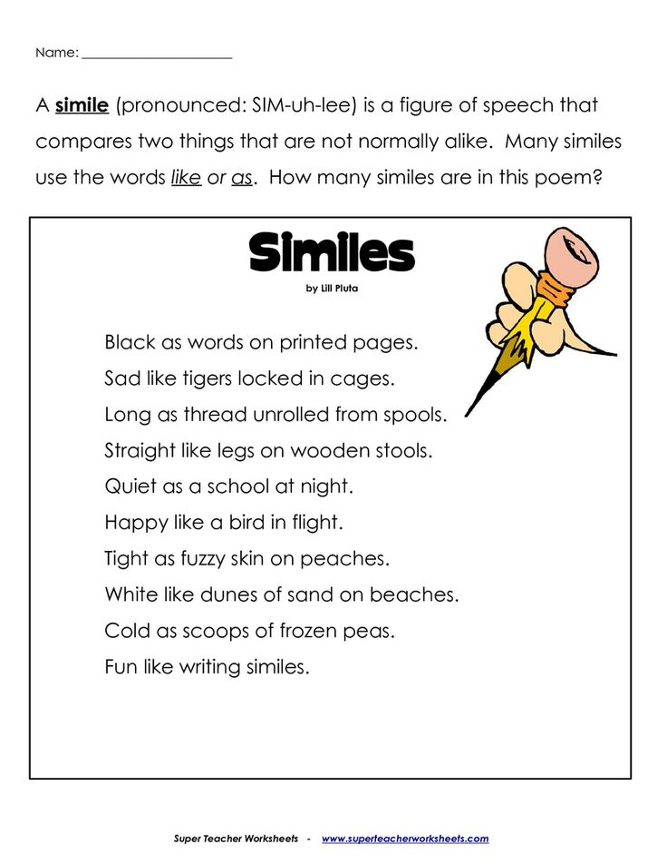 Similes For Middle School Simile Poems For Middle School Metaphors ...