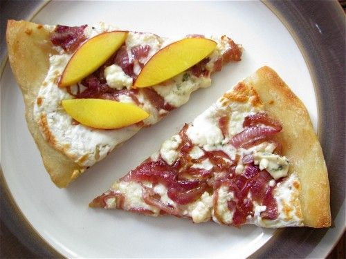 Caramelized Red Onion, Blue Cheese, and Nectarine Pizza