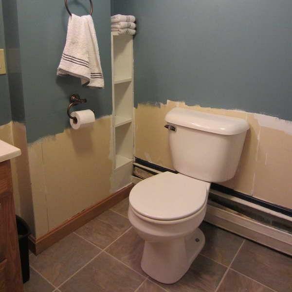 Half Bath Idea Storage Between Studs For The Home Pinterest