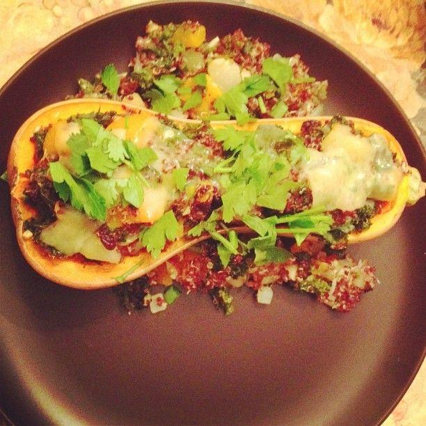 Quinoa and kale stuffed butternut squash | INGESTIBLES | Pinterest