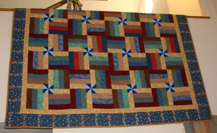 Split rail fence with pinwheels finished Quilts Pinterest