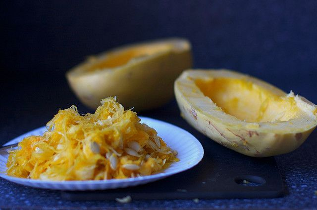 ... the CSA hits winter squash season: Moroccan spiced spaghetti squash