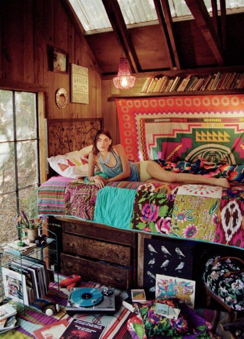 eclectic patterns, bright colors, hippie, romantic, nature, bedroom, living room, lovely, happy