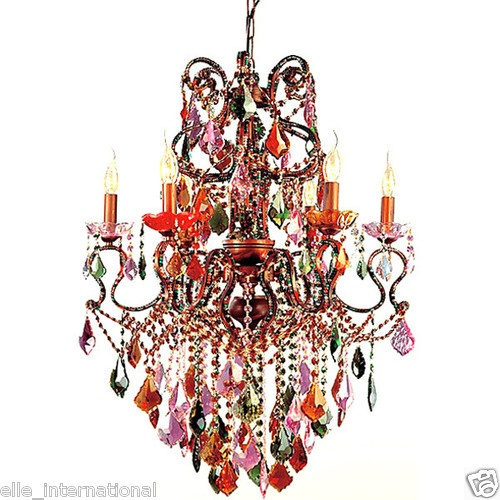 New Orleans Mardi Gras Multi Colored Crystal Chandelier Iron 34