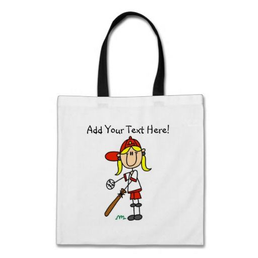 Personalized Girls Baseball Tote Bag