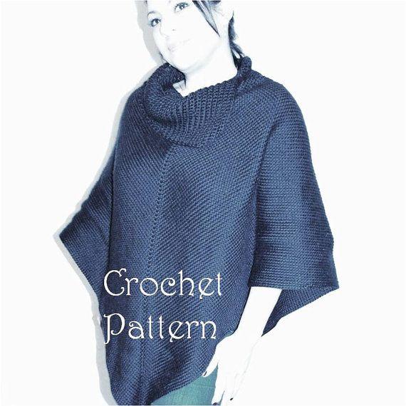 Crochet Poncho Pattern, Cowl Neck Poncho, Womens Poncho, CROCHET PATTERN, Aut...