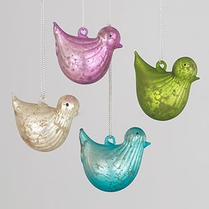 mercury glass bird ornaments