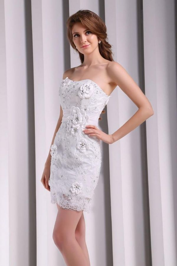 Wedding Dresses For Over 55 : Above knee length floral lace over white satin wedding dress clothes