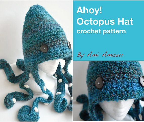Crochet Octopus Hat : Ahoy Octopus Hat Pattern Crochet PDF by amiamour on Etsy, $5.00