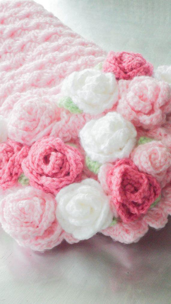 Crochet Rose Blanket Free Pattern : Baby Blanket Crochet Roses Blanket Pink Baby Blanket ...