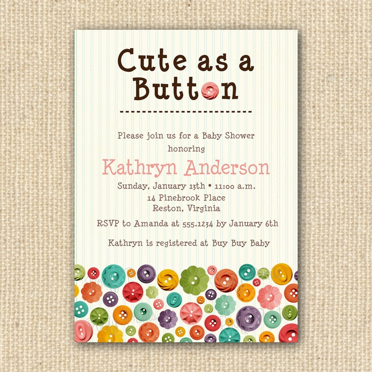 cute as a button baby shower invitations diy printable invitations