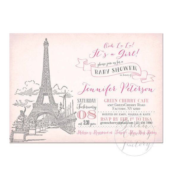 paris baby shower invitation pale pink baby girl shower invitation