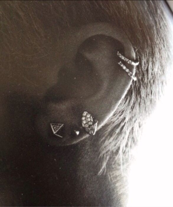 Love the double hoop cartilage   Jewelry   Pinterest