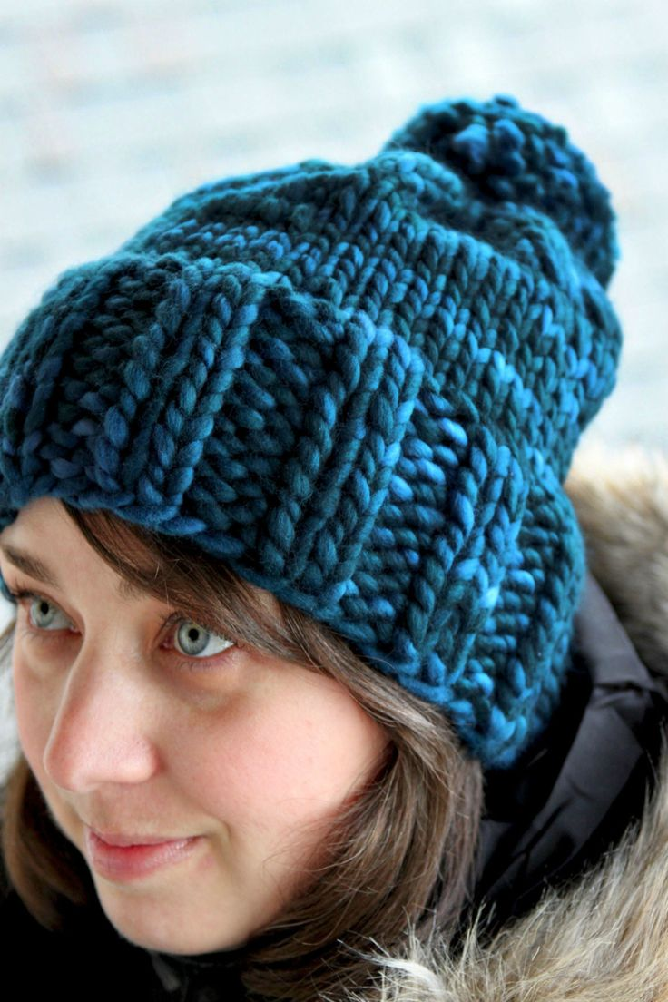 Free Knitting Pattern Hat With Bulky Yarn : Hannah Chunky Ribbed Bulky Pom Pom Hat PDF Pattern