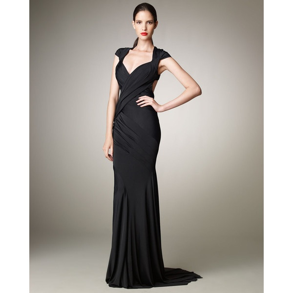 Donna karan open back jersey gown art deco inspired for Donna karan wedding dresses