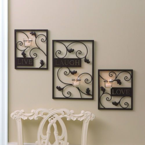 Country Live Laugh Love Wall Tealight Candle Holder Sconce