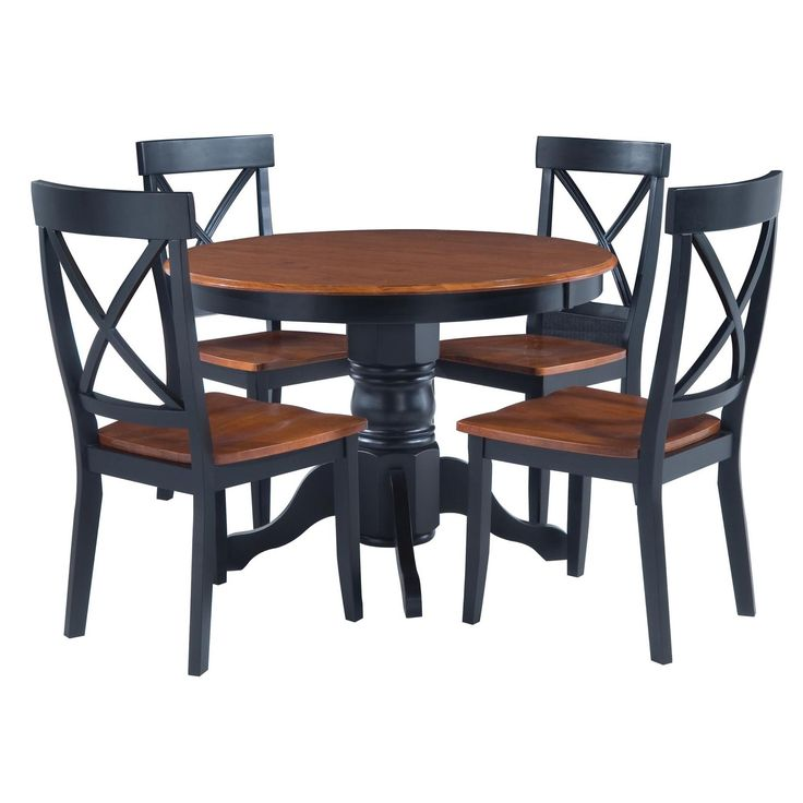 Black cottage oak 5 piece dining furniture set for Dinner table set for 4