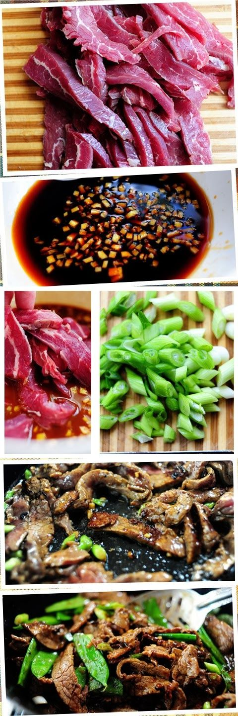 Beef with Snow Peas. Beef, snow peas, soy sauce, ginger? More than ...