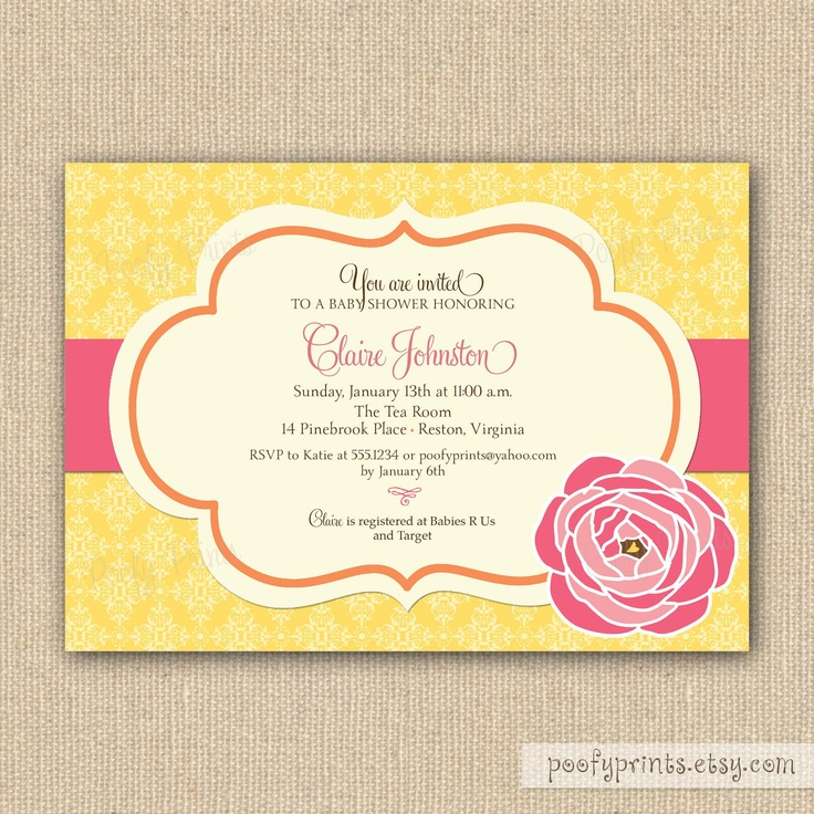 Baby Shower Yellow And Pink ~ Yellow and pink baby shower invitations all things