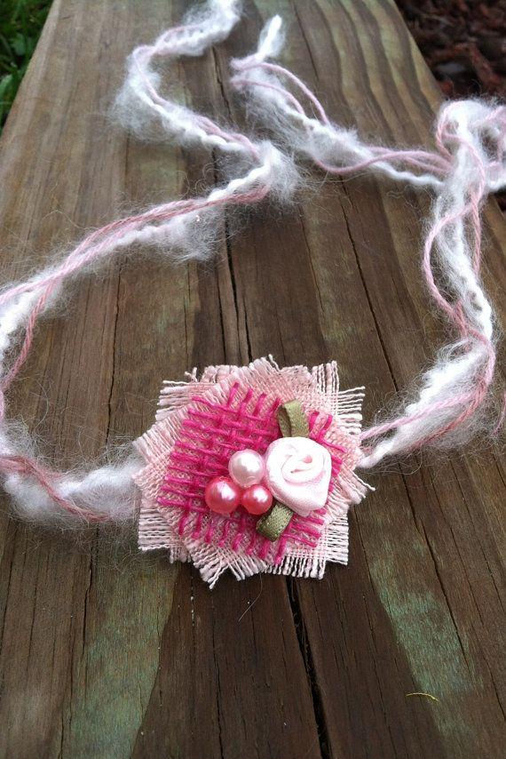 Raspberry Rose Souffle Tie Back Headband, Newborn Photo Prop, Newborn ...