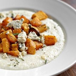 Creamy Parmesan Grits with Roasted Butternut Squash and Blue Cheese
