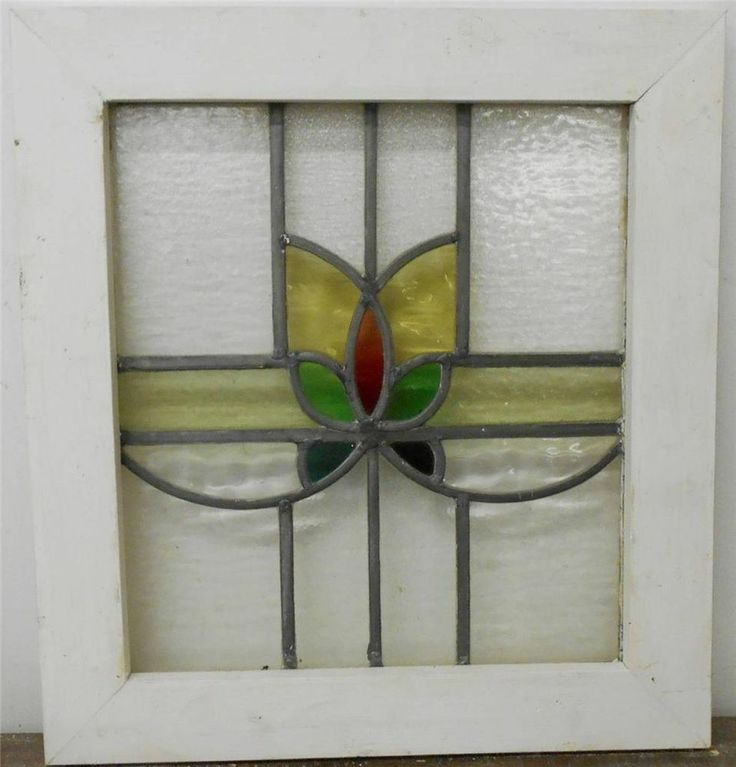 Old english leaded stained glass window floral design 19 5 for Window glass design 5 serial number
