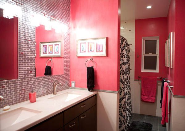 I always want a pink bathroom home sweet home pinterest for Hot pink bathroom ideas