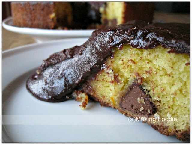 Slice of Orange Chocolate Gooey Cake - made with @HersheysKisses # ...