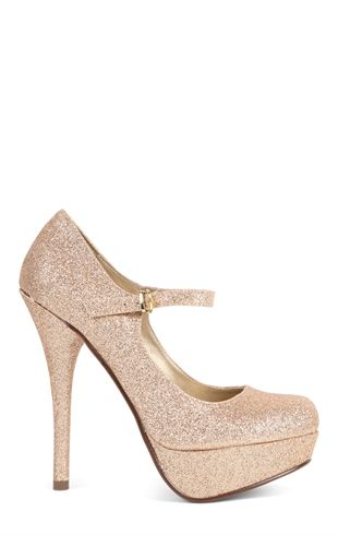 Deb Shops glitter pump with maryjane strap $27.67