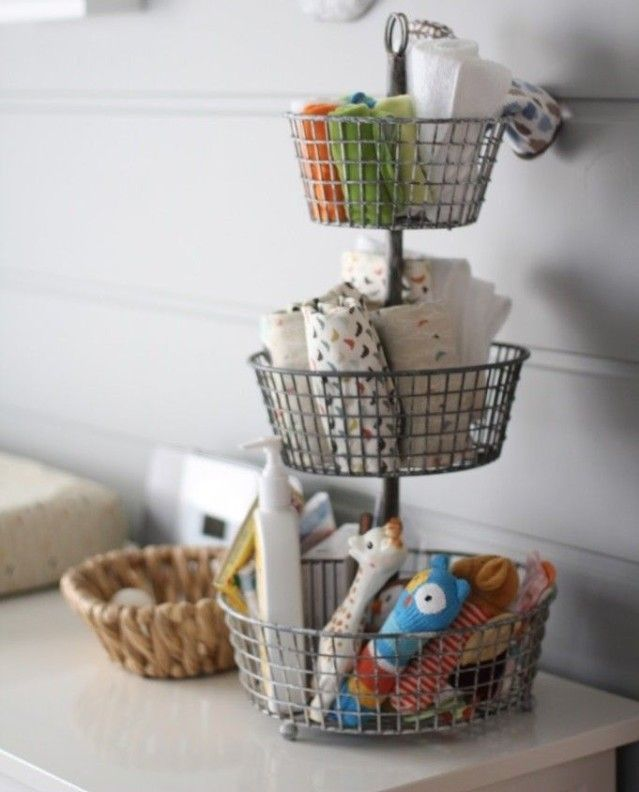 Get creative when it comes to organizing your nursery to prepare for baby! We love this tiered kitchen basket as changing table storage. #Nesting