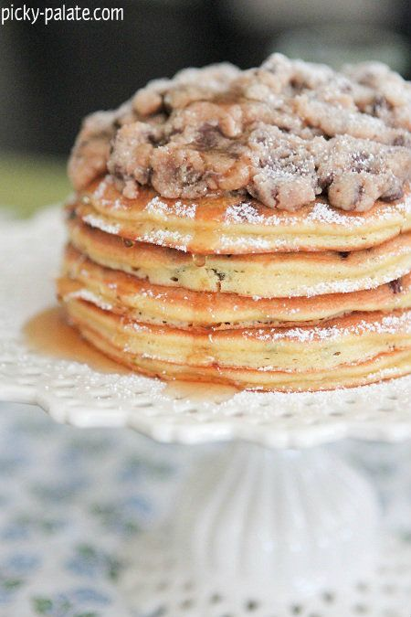 Chocolate Chip Pan Cakes with Cookie Dough Crumble....unmm. Fantastic ...