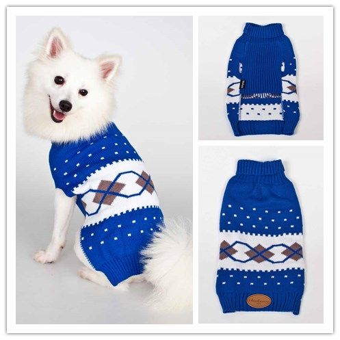 Scottish Argyle Pattern Inspired Turtleneck Dog Sweater in Royal Blue and White. http://www.blueberrypet.com/apparel-accessories/sweaters.html