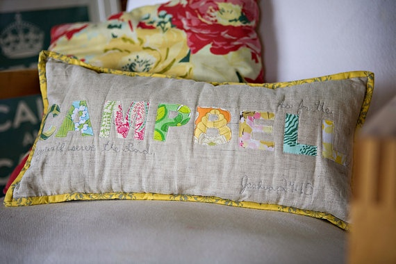 Family Name Pillow from For the Love of Joy
