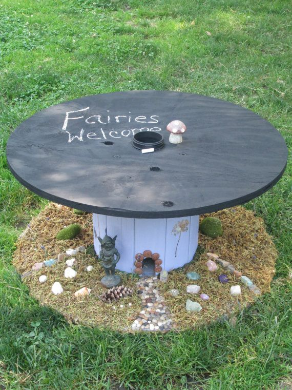 Upcycled Cable Spool Custom Chalkboard Top Fairy Theme Table LOCAL pi ...