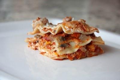 Sausage, mushroom, and sun-dried tomato lasagna