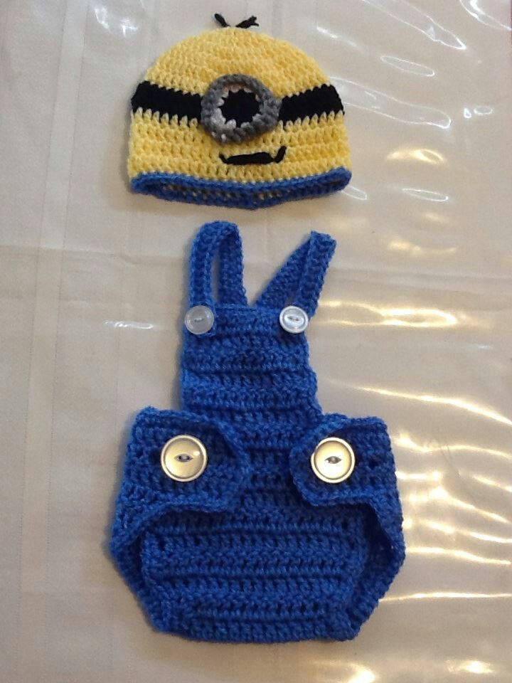 Crochet Patterns For Baby Overalls : Crochet baby boy Minion outfit Cameron Isaiah ? Pinterest