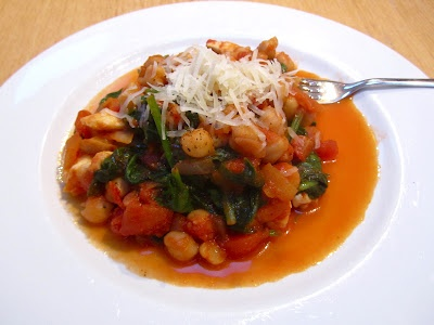 Harissa spiced chickpeas with halloumi and spinach - made this with ...