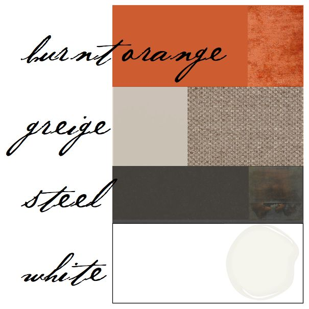 Color scheme burnt orange gray for the home pinterest - What colors go with orange ...