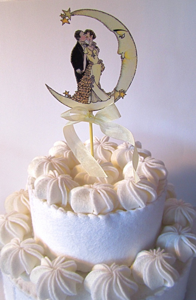 Art Deco Moon Cake Topper : Vintage Moon Wedding Cake Topper -Small Size- Art Deco ...