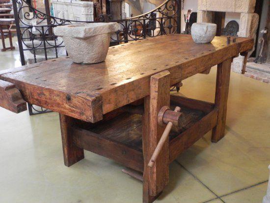 Antico tavolo da falegname.  Vecchi mobili da mestiere.  Pinterest