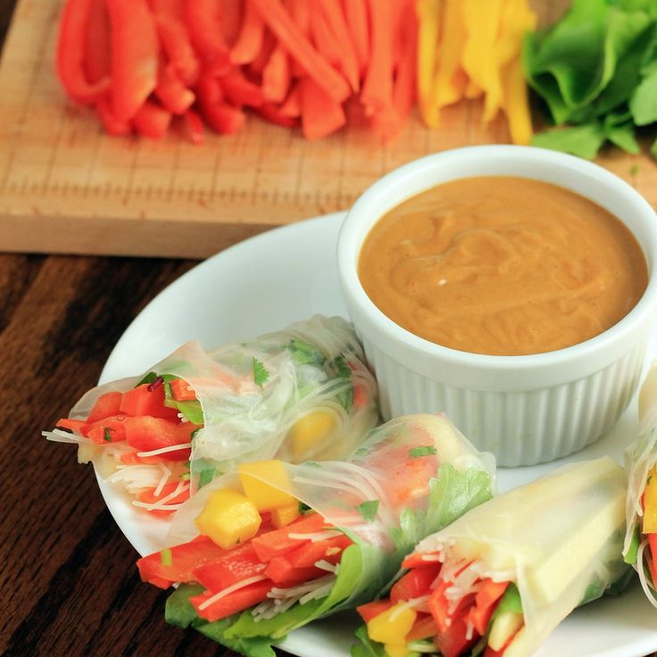 Vegetable Spring Rolls with Spicy Peanut Dipping Sauce Sauce needs ...
