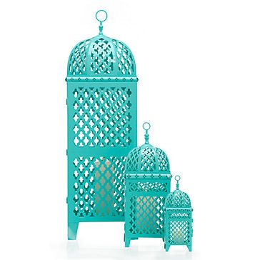 Create your own Kasbah with the exotic look of our spectacular Mimosa Lanterns in aquamarine.