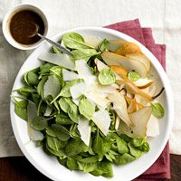 Spinach, Pear & Shaved Parmesan Salad This is SO GOOD. I add some ...