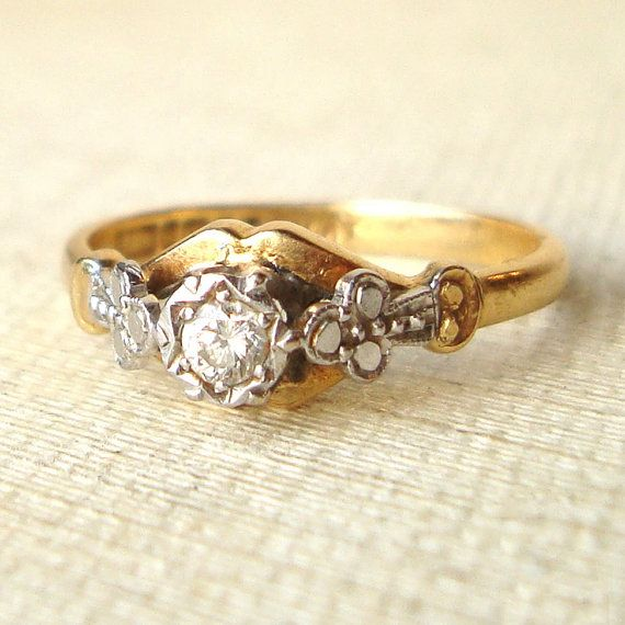 Vintage Diamond Engagement Ring Victorian Style Diamond Ring 18k Go…