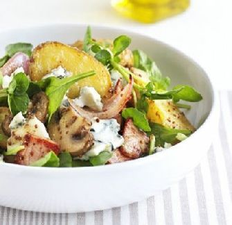 Warm new potato salad with bacon & blue cheese http://www.ibssanoplus ...