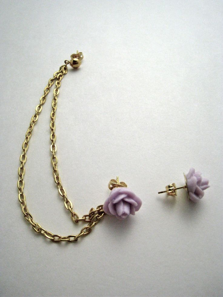 Light Purple Flower Gold Cartilage Earring